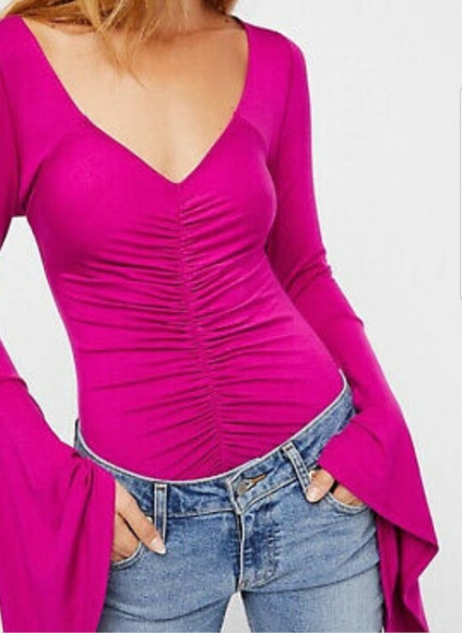 Free People Tops - Free People What a Babe Dark Pink Top